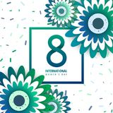 International women`s day poster. International women`s day flyer. 8 number with green paper cut flowers vector illustration. Trendy Design Template Stock Images