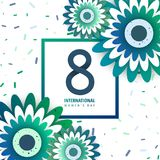 International women`s day poster. International women`s day flyer. 8 number with green paper cut flowers vector illustration. Trendy Design Template Stock Photography