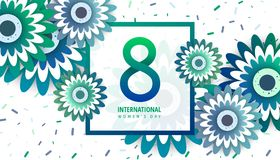 International women`s day poster. International women`s day flyer. 8 number with green paper cut flowers vector illustration. Trendy Design Template Royalty Free Stock Image