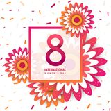 International women`s day poster. International women`s day flyer. 8 number with orange paper cut flowers vector illustration. Trendy Design Template vector illustration
