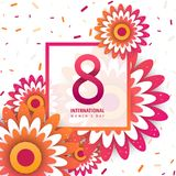 International women`s day poster. International women`s day flyer. 8 number with orange paper cut flowers vector illustration. Trendy Design Template Royalty Free Stock Photos
