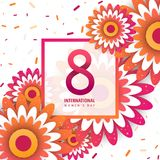 International women`s day poster. International women`s day flyer. 8 number with orange paper cut flowers vector illustration. Trendy Design Template Royalty Free Stock Photography