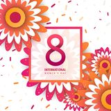International women`s day poster. International women`s day flyer. 8 number with orange paper cut flowers vector illustration. Trendy Design Template royalty free illustration