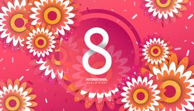 International women`s day poster. International women`s day flyer. 8 number with red paper cut flowers vector illustration. Trendy Design Template Stock Images