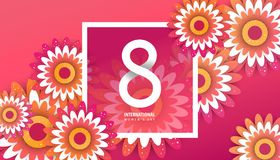 International women`s day poster. International women`s day flyer. 8 number with red paper cut flowers vector illustration. Trendy Design Template Stock Photo