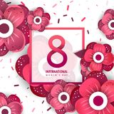 International women`s day poster. International women`s day flyer. 8 number with rose paper cut flowers vector illustration. Trendy Design Template Stock Photography
