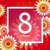 International women`s day poster. International women`s day flyer. 8 number with rose paper cut flowers vector illustration. Trendy Design Template Stock Photos