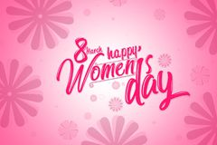 International women`s day poster, pink color with flowers background.  Royalty Free Stock Image