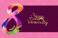 International women`s day poster. Woman sign.Colorful Happy Mother`s Day stock illustration