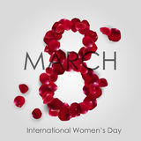 International Women's Day with Rose petals arranged in shape of 8th Royalty Free Stock Photo