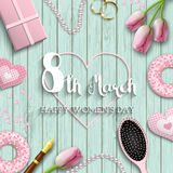 International women`s day, 8th march, text on blue wooden background, illustration. International Women`s Day greeting card, romantic motive with pink objects royalty free illustration