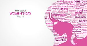 International Women`s Day title with a silhouette of a woman`s face and a cloud of words inside the silhouette. In pink and violet colors on a white background Stock Photos