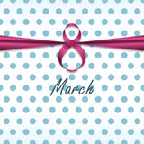 International Women`s Day Vector illustration. Texture blue polka dots on white background is bandaged pink ribbon Realistic style Template for 8 March Stock Image