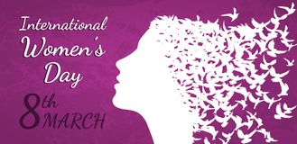 International Women`s Day vector illustration with woman profile. International Women`s Day March 8th vector illustration with woman profile and birds vector illustration