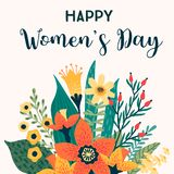 International Women s Day. Vector template with flowers. stock photography