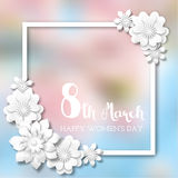International Women`s Day, white frame with 3d abstract flowers on blurred background, illustration. International Women`s Day, white frame with 3d abstract stock illustration