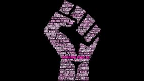 International Women`s Day Word Cloud. On a black background royalty free illustration