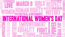 International Women`s Day Word Cloud. On a white background royalty free illustration