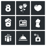 International Womens Day and the attentions icons set. Vector Illustration. Stock Photos