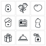 International Womens Day and the attentions icons set. Vector Illustration. Royalty Free Stock Photography