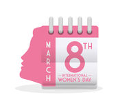 International womens day calendar girl profile eight march. Illustration eps 10 Royalty Free Stock Photo