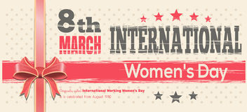 International Womens Day card. Celebrate the Power of Women on 8th March. Retro background for 8 March. Vector vintage template flyer for Womens Day Royalty Free Stock Photo