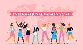 International womens day. Celebrating eight march, sisterhood community and multinational female people vector flat stock illustration