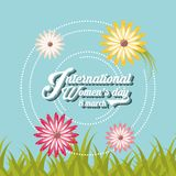 International womens day design. With beautiful flowers around over blue background colorful design. vector illustration Stock Photography