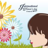 International womens day design. With cartoon profile of woman and beautiful flowers over blue background colorful design. vector illustration Royalty Free Stock Images
