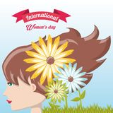 International womens day design. With profile of woman and beautiful flowers over blue background colorful design. vector illustration Stock Images