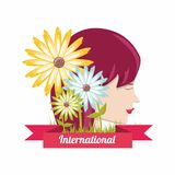 International womens day design. With profile of woman face and beautiful flowers over white background colorful design. vector illustration Royalty Free Stock Image