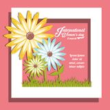 International womens day design. With white frame and beautiful flowers over pink background colorful design. vector illustration Royalty Free Stock Photography
