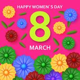 International Womens Day greeting card. 8 March template with bright flowers. Vector illustration vector illustration