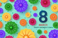 International Womens Day greeting card. 8 March template with bright flowers. Vector illustration royalty free illustration