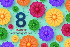 International Womens Day greeting card. 8 March template with bright flowers. Vector illustration stock illustration