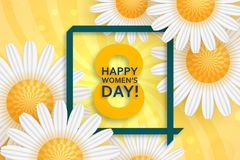 International Womens Day greeting card. 8 March template with daisy, bokeh and square frame. Comic sun rays background.  stock illustration