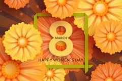 International Womens Day greeting card. 8 March template with daisy, bokeh and square frame. Comic sun rays background.  royalty free illustration
