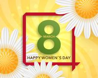 International Womens Day greeting card. 8 March template with daisy, bokeh and square frame. Comic sun rays background.  vector illustration