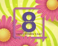 International Womens Day greeting card. 8 March template with daisy, bokeh and square frame. Comic sun rays background. Vector illustration vector illustration