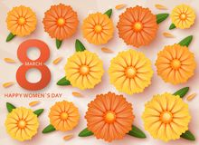 International Womens Day greeting card. 8 March template with daisy. Vector illustration royalty free illustration