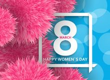 International Womens Day greeting card. 8 March template with pink pompoms, bokeh and square frame. Vector illustration. International Womens Day greeting card stock illustration