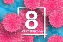 International Womens Day greeting card. 8 March template with pink pompoms, bokeh and square frame. Vector illustration. International Womens Day greeting card vector illustration