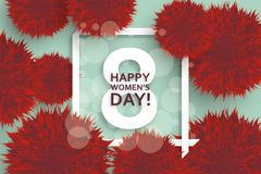 International Womens Day greeting card. 8 March template with pompoms, bokeh and square frame. Vector illustration stock illustration