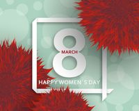 International Womens Day greeting card. 8 March template with pompoms, bokeh and square frame. Vector illustration royalty free illustration