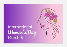 International Womens Day greeting card. Silhouette of a beautiful girl in a rim with flowers on her head. Fashionable. Ultra violet gradient background. Vector stock illustration