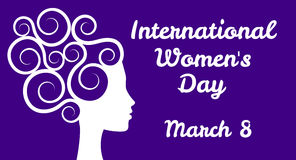 International womens day. Greetings with woman profile vector illustration