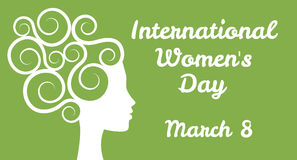International womens day. Greetings with woman profile stock illustration