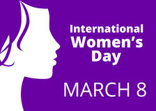 International womens day. Greetings with woman profile royalty free illustration