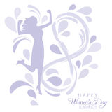 International Womens Day. Happy Womens Day greeting card or poster design with a silhouette of an empowered girl on a white background with abstract floral Stock Photo