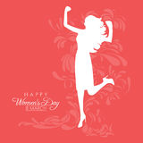 International Womens Day. Happy Womens Day greeting card or poster design with white silhouette of an empowered girl on a red background with abstract floral Royalty Free Stock Photos